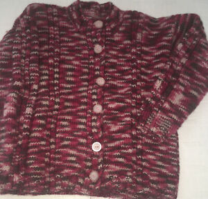 Girls Hand Knitted Cardigan Approx Size 8-10 Button Up Front
