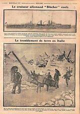 Cruiser Blücher Kaiserliche Marine Torpedo Admiral Beatty Royal Navy  WWI 1915