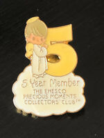 Vintage Collectible Precious Moments 5 Year Club Colorful Metal Pin Back