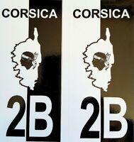 2 Stickers Adhésif Plaque Immatriculation Logo Haute Corse 2B