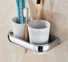 Polished Chrome Brass Wall Mount Bathroom Toothbrush Holder with Two Cups Kba836