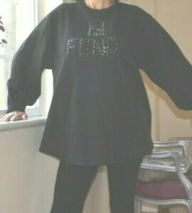 FENDI ROMA Authentic Black Embellished Rhinestone logo Sweatshirt New Med £1150