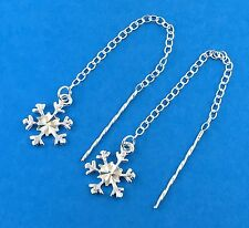 Solid 925 Sterling Silver Snowflake pull Through Threader Earrings /  Dangle