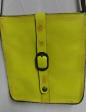 Patricia Nash Florence Venezia Neon Yellow Leather Crossbody Distressed Purse