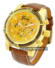 mens gold automatic skeleton watch black cable self winding browm leather strap
