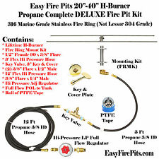 "H20CK+: DIY DELUXE PROPANE FIRE PIT KIT & 20"" LINEAR 316 STAINLESS H-BURNER"