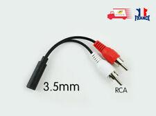 Câble adaptateur audio stéréo 2x RCA mâles vers jack 3,5 mm femelle 0,20 M noir