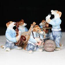5 GREYHOUND DOG MUSIC BAND SET CERAMIC POTTERY ANIMAL MINIATURE FIGURINE