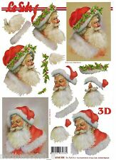 SANTA FACE 3-D DIMENSIONAL LAYER STACK CHRISTMAS CUTOUT PAPER ORNAMENT COLLAGE