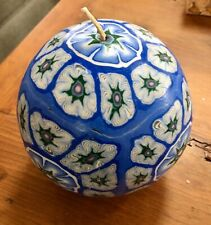 1970's Round Burning Candle With Flower Cane Designs