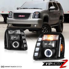 2007-14 GMC YUKON XL/XLT/SLT CCFL Halo Angel Eye Projector Black Headlights Lamp