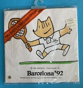 Vtg Official 1992 Barcelona Summer Olympics COBI Mascot T Shirt Single Stitch XL