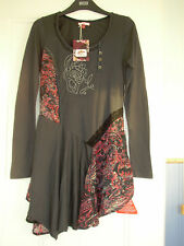BNWT Joe Browns Mythical tunic top Size 8 Grey/pink/blue Peplum Embroidered Boho