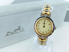 Authentic HERMES Women's Wrist Watch CLIPPER Quartz SS & GP Bracelet + BOX