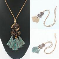 Fashion Boho Spiral Tassel Pendant Necklace Women Long Sweater Chain Jewelry