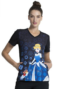 Cinderella Cherokee Scrubs Tooniforms Disney V Neck Top TF637 PRSS