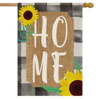 """Farm House Home Summer Burlap House Flag Sunflowers Double-Sided 28"""" x 40"""""""