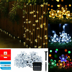 30 50 LED Solar Powered Fairy String Flower Lights Decor Party Garden Outdoor UK