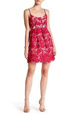 ABS Allen Schwartz Floral Lace Dress Magenta Size 8