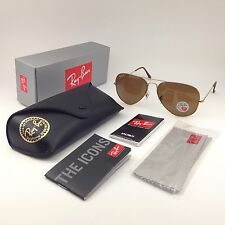 Ray-Ban Aviator Sunglasses men Brown POLARIZED lens / Gold RB 3025 001/57 62 mm