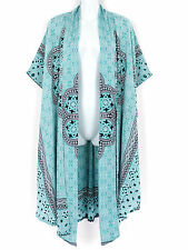 Turquoise Abstract Prnt Longer Duster Wrap Jacket Plus Size 2X 3X 4X, Round Edge