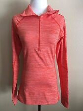 NWT Women's Orange Long Sleeve Under Armour 1/2 Zip Cold Gear Fitted Top Small