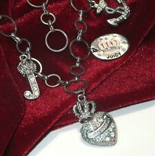 """JUICY COUTURE 4 CHARM NECKLACE RHINESTONES SILVER TONE ROUND LINK 18""""L"""