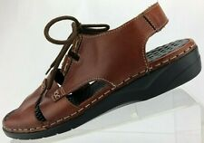 Rieker Slingback Sandals Open Toe Brown Laces Leather Comfort Womens 41, 9.5,10