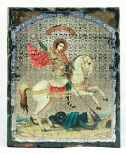 Saint George The Dragon Slayer Old Icon Wood base Георгий Победоносец Икона