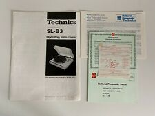 More details for technics turntable sl-b3 operating instruction + guarantee - vgc - free p&p