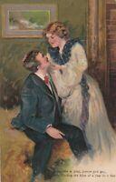Vintage Postcard Valentine Man and Woman Lovers at Play 1908 Embossed