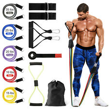 12 PCS Resistance Band Set Handle Yoga Ab Pilates Fitness Exercise Home Workout