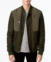 Mens William Rast benton coat winter jacket green, bomber,knit, olive size XL