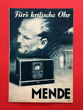 alter Radio Prospekt MENDE Fernempfänger 25, Dynamo, pick up um 1930 ( F19009