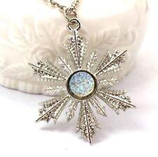 Una volta carattere Anna congelati Argento Cristallo Fiocco di Neve Ciondolo Collana