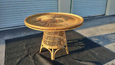 Vintage Mid Century Sun Burst Bohemain Wicker Dining Table Bamboo Base