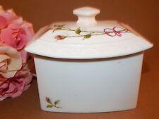 Trinket Dish Covered Box White Ceramic Pink Rosebud Dresser Top Keepsake Storage
