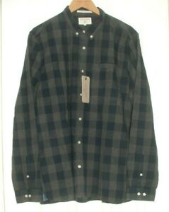 BN Racing Green Brushed Cotton Checked Casual Shirt Size XL