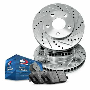 Front PBR AXXIS Silver Drill/Slot Brake Rotors + Deluxe Advanced Ceramic Pads