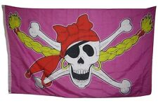 3x5 Jolly Roger Pirate Princess Girl Pink Pigtales Rough Tex Knitted Flag 3'x5'