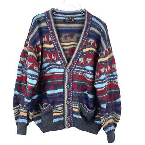 Coogi Vintage Wool 90s 3D Knit V Neck Cardigan Multicolor Made Australia XL