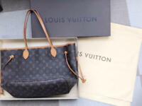 LOUIS VUITTON Monogram Neverfull MM Tote Bag Brown Auth MM4943
