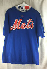 Johan Santana NEW YORK METS 2 sided Blue T-shirt Orange Script Logo Medium