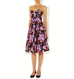 HOBBS SWEET PEA BLACK PINK STRAPLESS STRAPS 50'S COCKTAIL DRESS 14 TWICE £229