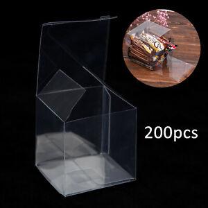 200Pcs Wedding Favour Sweet Cake Gift Candy Box Plastic Transparent PVC Cube Bag