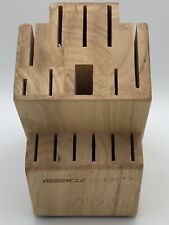 World Class Miracle Blade Wood Block 15 Slot Knife Holder Brown Natural Finish