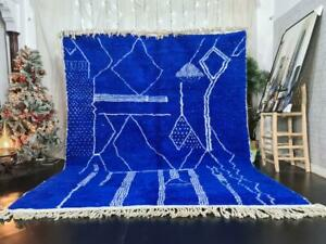 MADE TO ORDER - Moroccan Handmade Beni Ourain Rug Berber Wool Abstract Blue Rug