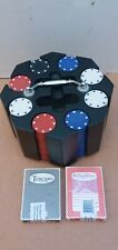 Bicycle Revolving Poker Chip Card & Rack Set 200 Chips Great For Texas Hold Em