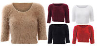 Ladies Girl New Fluffy Soft Knitted Cropped Crop Furry Mohair Eyelash Jumper Top