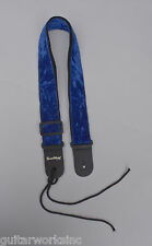 Guitar Strap BLUE VELVET On Nylon Leather Ends For Acoustic & Electric Made USA.